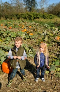 AJ and Camille at the pumpkin patch.
