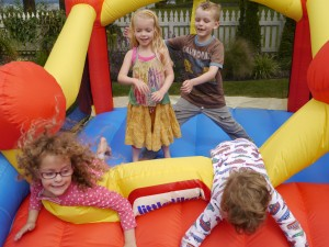 Bouncing with cousins, Summer 2012
